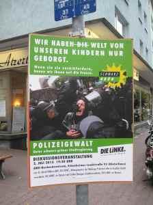 Einladung der Linken zur Diskussion über die Polizeigewalt bei den Blockupy-Protesten am 1.6.2013 - Gesehen im Oederweg